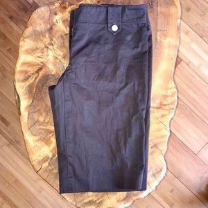 Tory Burch Brown Capri shorts w monogram buttons